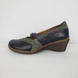 Romika Mary Jane Shoes Black & Grey Leather Size 7